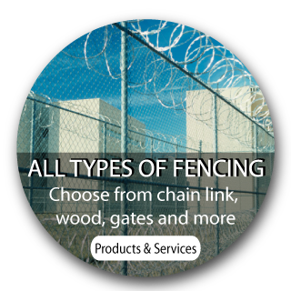 All types of fencing. Choose from chain link, wood, gates and more. Products and Services- barbed wire fence