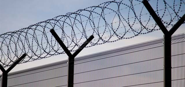 large barbed wire fence